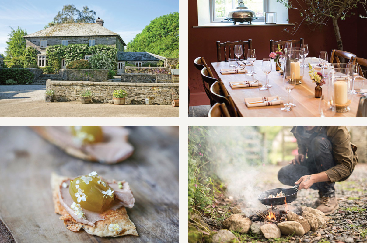 Clockwise from top left: the main farmhouse at Coombeshead; the dining room; cooking over an open fire on the grounds; a fennel cracker with duck liver and pickled gooseberry.CreditClockwise from top left: Courtesy Coombeshead Farm (2); Artur Tixiliski; Stephen Perez