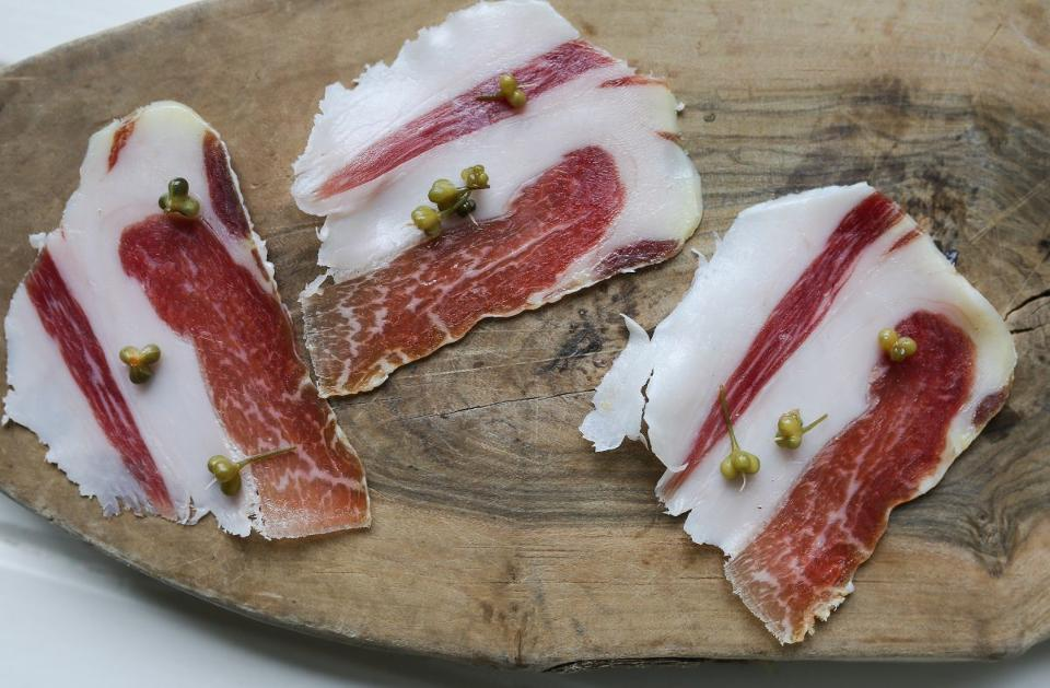 Cured meat from a Mangalica pig at Coombeshead Farm. Credit Stephen Perez.
