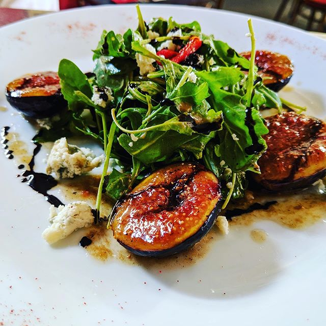 Sautéed fig and Roquefort salad, balsamic reduction created by our own Chef Thierry  #frenchcuisine #dinner #sanfrancisco #mosconecenter #datenight