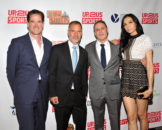 Board Member Michael McCracken, Up2Us Sports Founder & CEO Paul Caccamo, Honoree Dr. David Colbert, and Famke Janssen