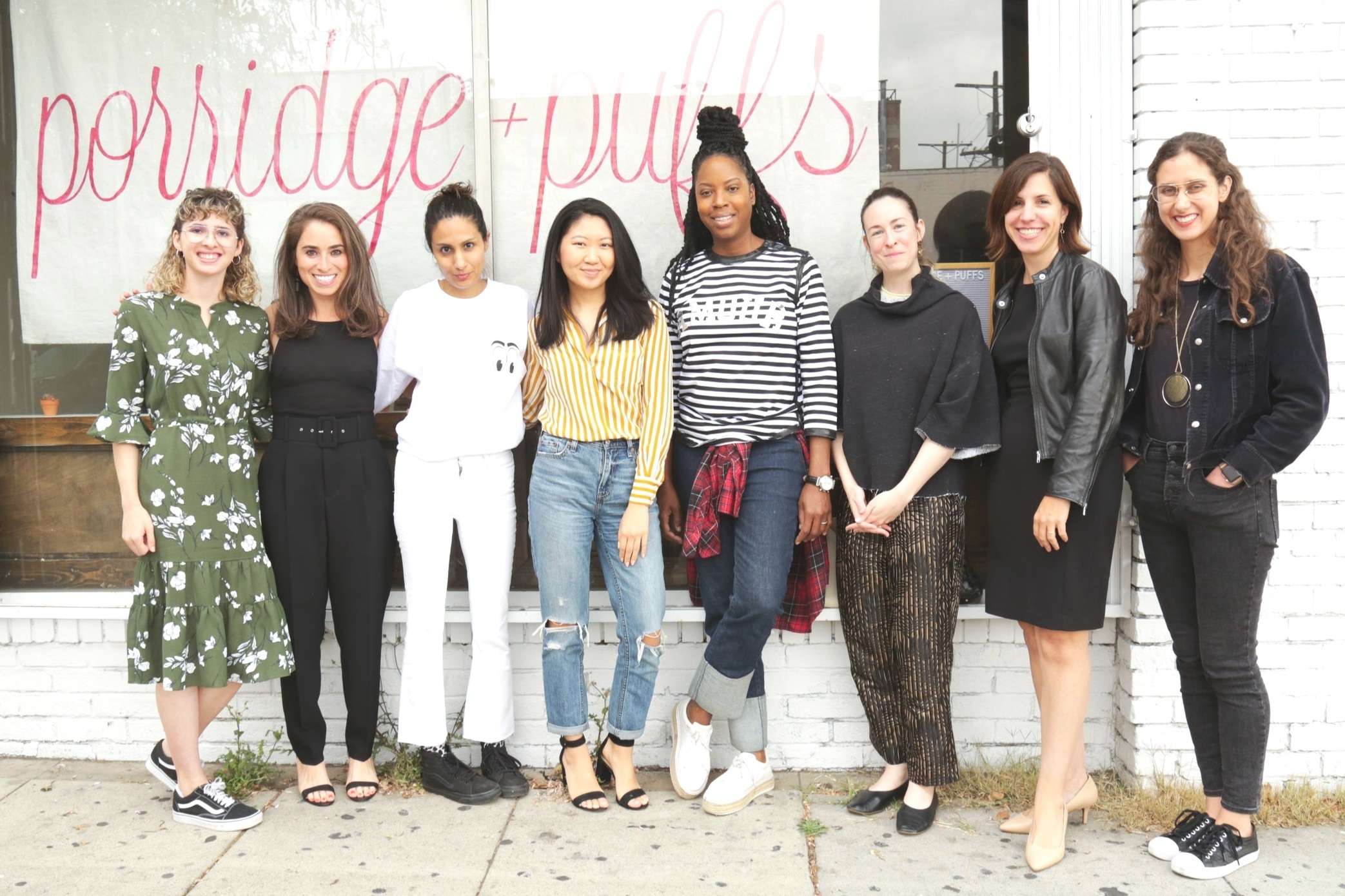 From left to right: Aliza Arabanal (Assistant Editor of Healthyish/ Bon Appétit ), Hallie Applebaum (Founder, Future of Women), Imelda Walavalkar (CEO and co-founder of  Pure Beauty ), Christine Yi (co-founder of  Potli ), Chef Andrea Drummer, Anja Charbonneau (Founder of   Broccoli  ), Elizabeth Ashford (Senior Director of Corporate Communications at Eaze), Amanda Shapiro (Editor of Healthyish/ Bon Appétit ).