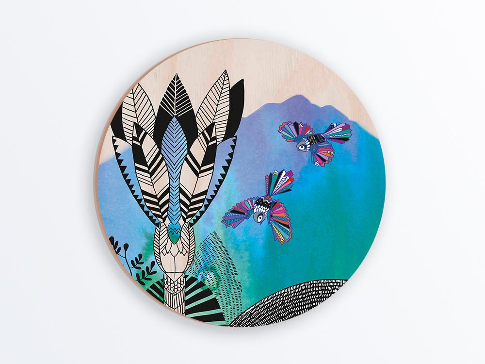 Tikitibu Round Plywood Wall Art Kat Merewether Illustration Art