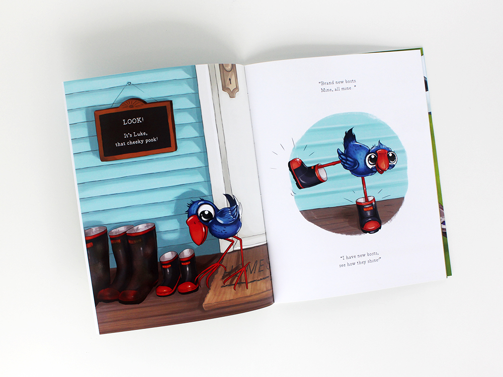 Luke the Pook Stuck in Poo What to do children's book Pukeko Illustration Books
