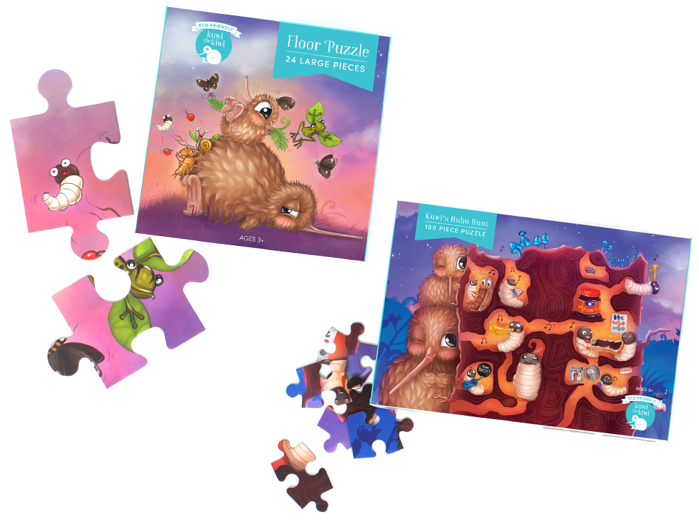 24 & 100 Piece Floor Puzzles - Illustrations from bestselling and award-winning Kuwi the Kiwi book series, written and illustrated by Kat Merewether.