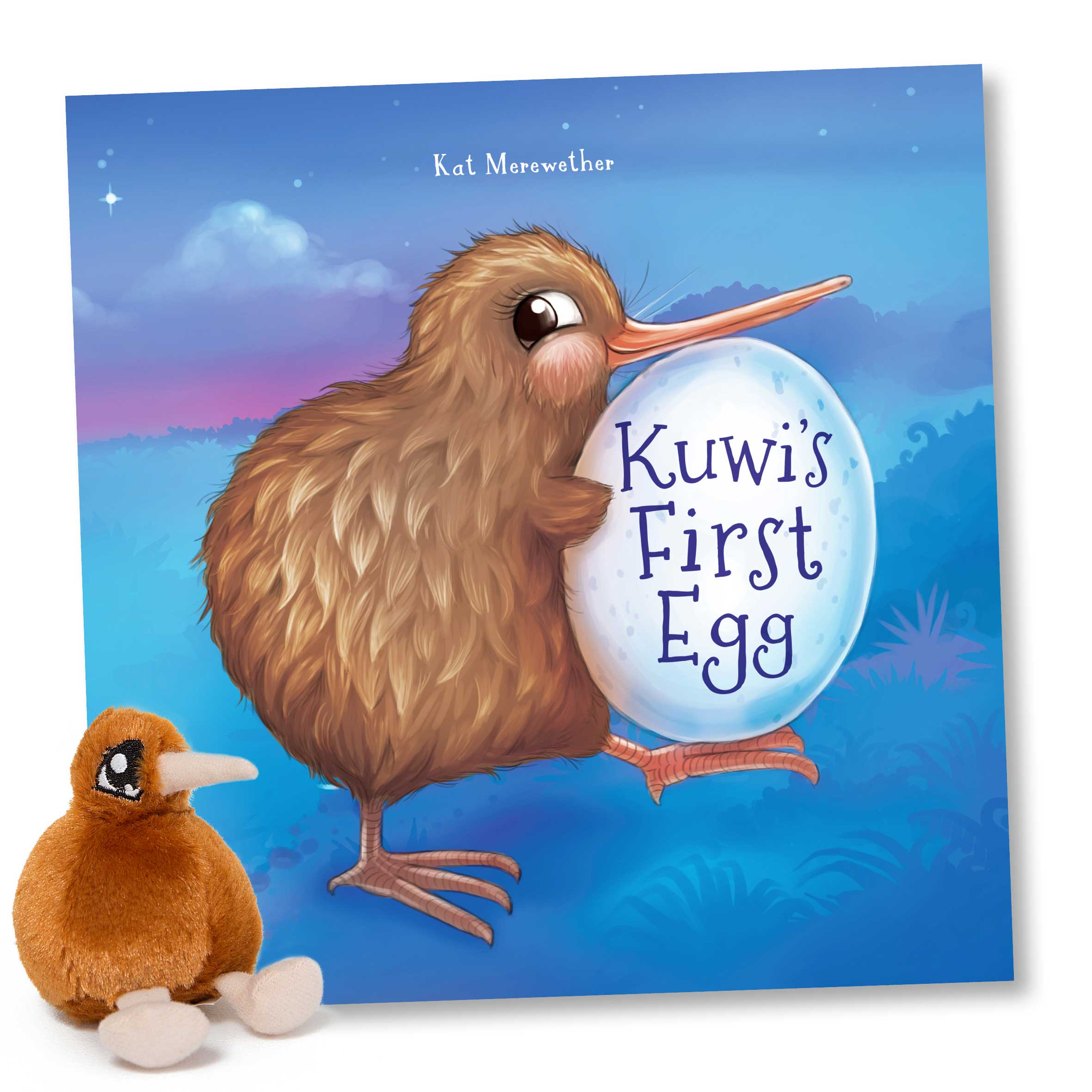 Kuwi the Kiwi Soft Toy - Free with 'Kuwi's First Egg', 'Kuwi's Huhu Hunt' and 'Kuwi's Very Shiny Bum' or sold separately.Written and Illustrated - Kat Merewether