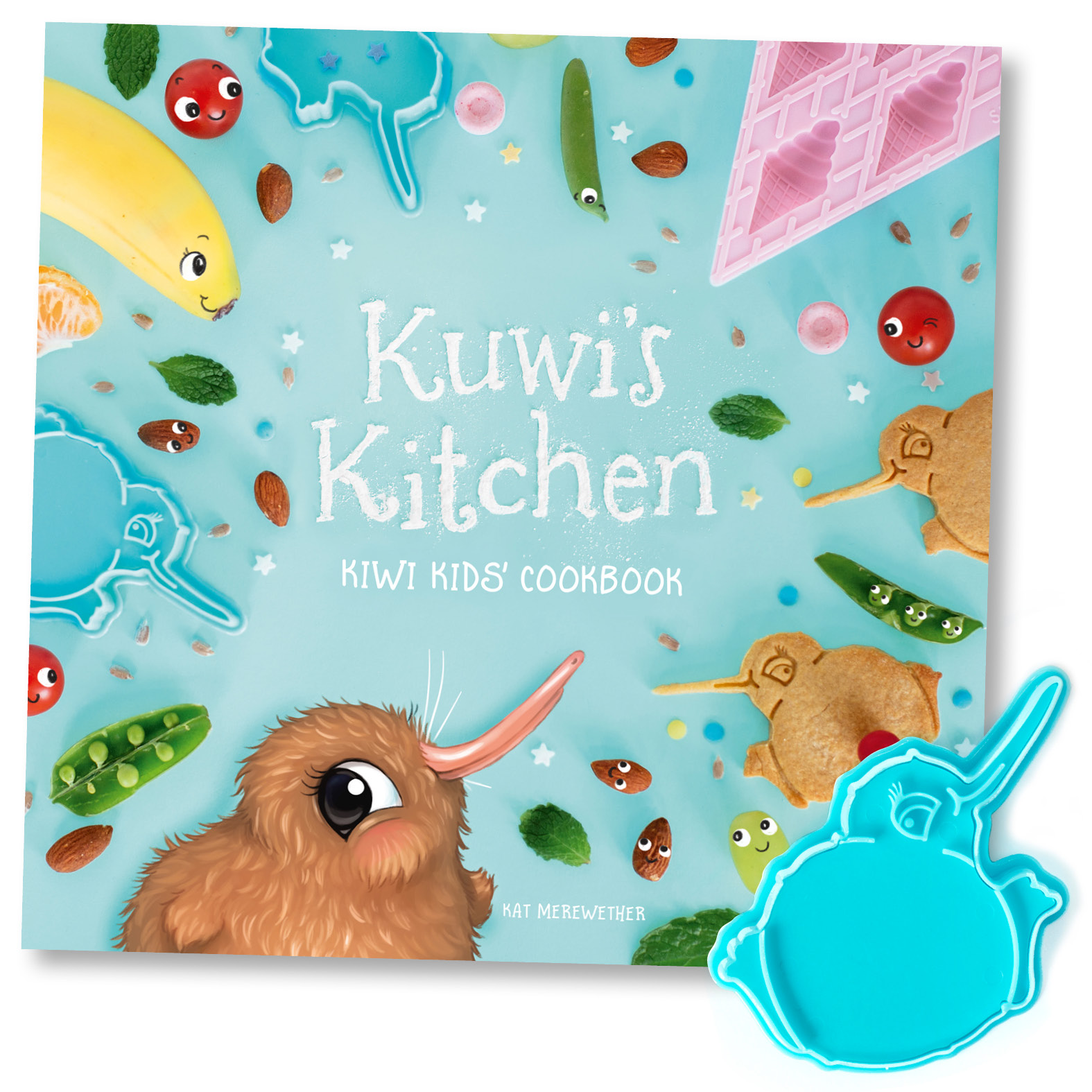 Kuwi the Kiwi Bikkie Cutter - Free with 'Kuwi's Kitchen' or sold separately.By Kat Merewether.