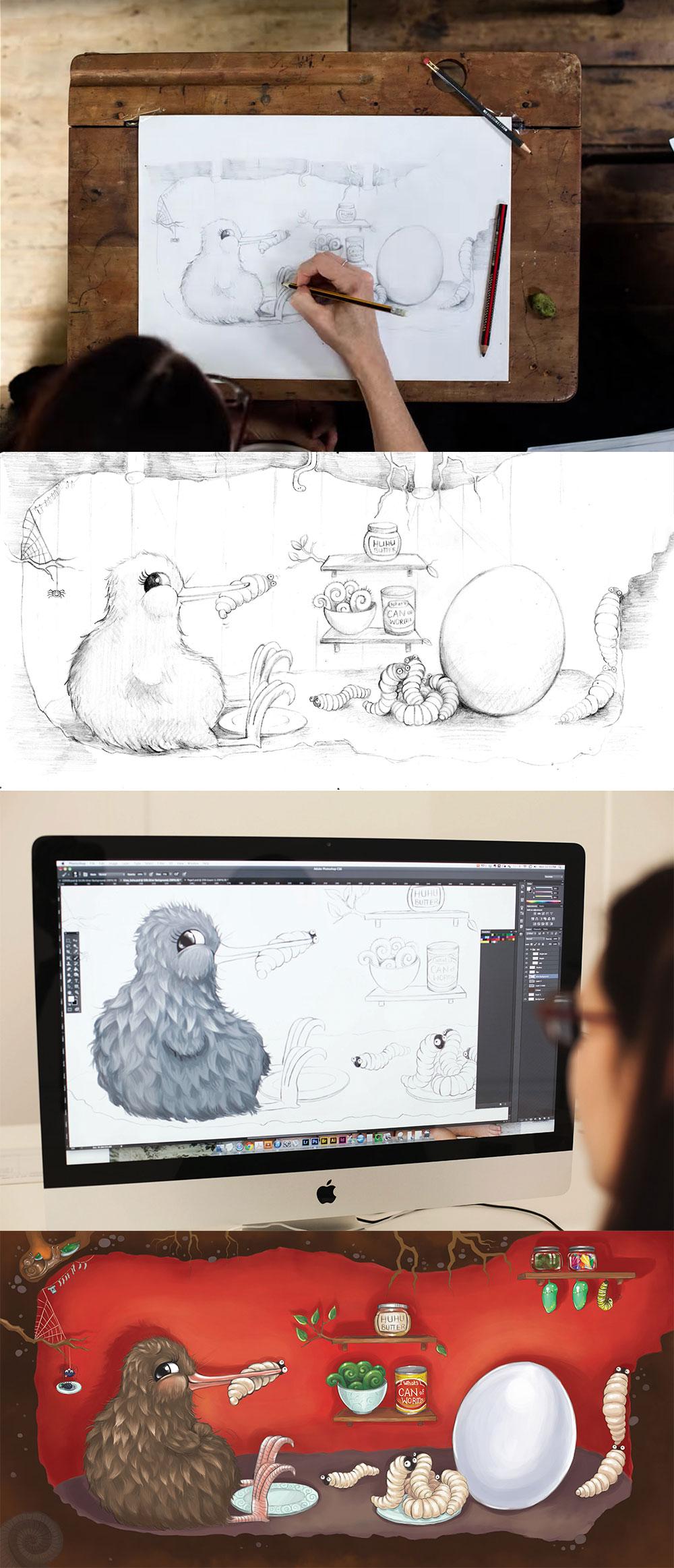Kuwi the Kiwi Children's Book Illustration Kat Merewether Development