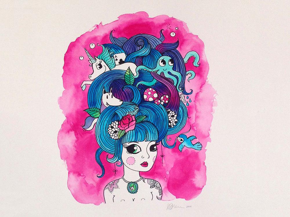 Dreaming Pretty Kat Merewether Illustration Art