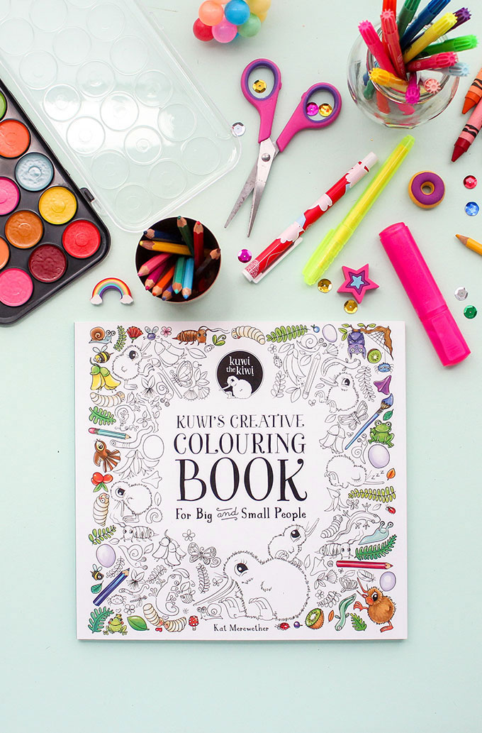 Kuwi the Kiwi Colouring Creative Children's BookS Illustration Kat Merewether