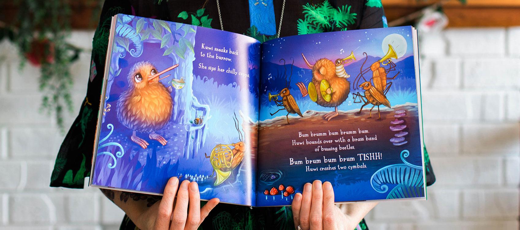 Kuwi the Kiwi SERIES Rowdy Crowd Children's BookS Illustration Kat Merewether