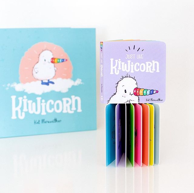 'Just Like Kiwicorn'. A sweet wee board book, for little hands. A simplified rendition of our 'Kiwicorn' story. ❤️🧡💛💚💙💜 100mm x 100mm matte laminated, colourful board book (shown with the original Kiwicorn book for scale).