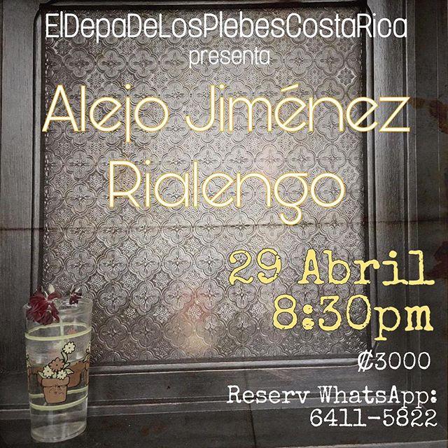 En @eldepadelosplebescostarica el lunes 29 junto con @ale6cuerdas ! Un honor! La reservación se hace por whatsapp. Concierto en San Pedro de Montes de Oca! Habrá comida y bebida!