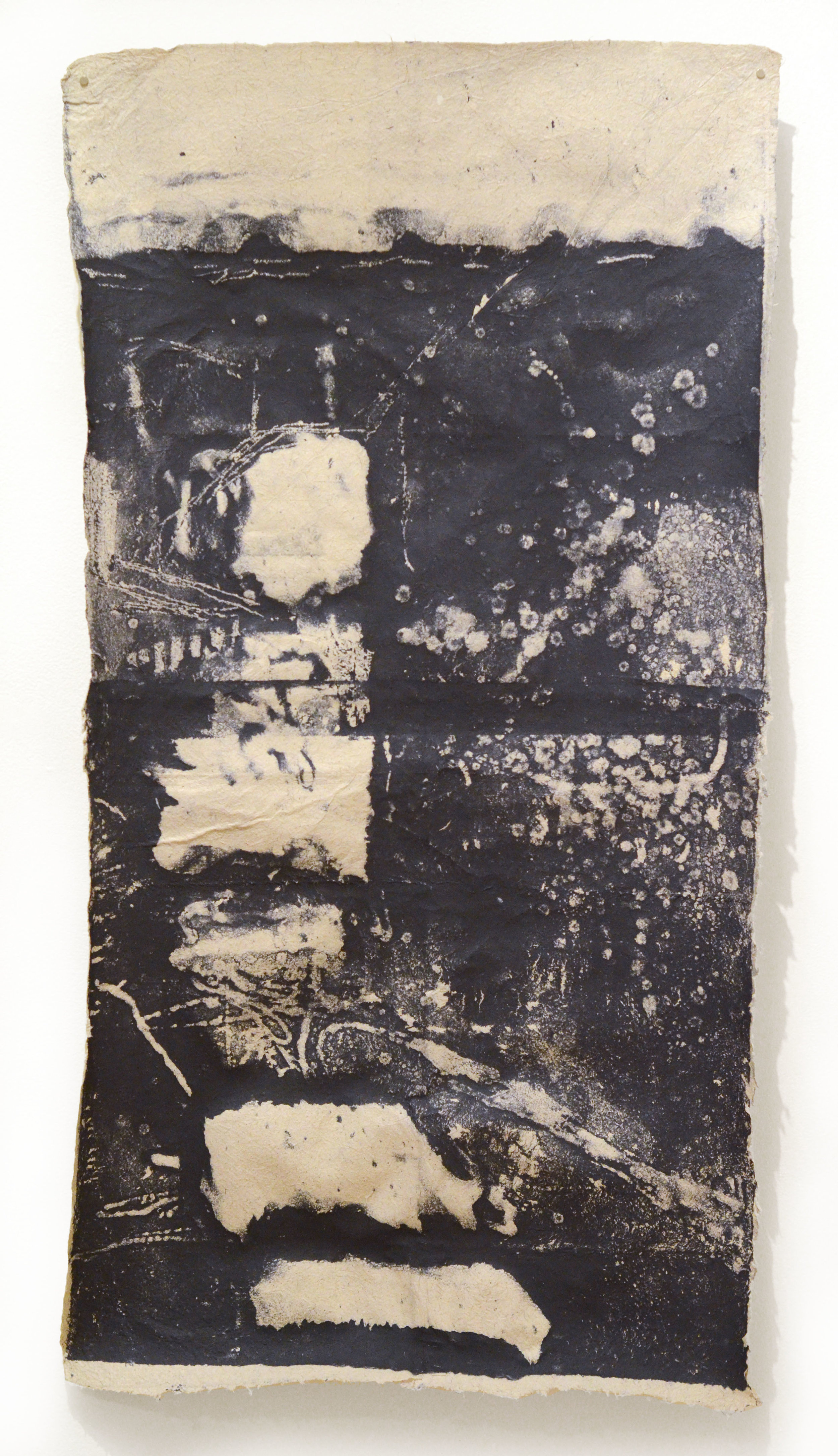 "Shoreline Study #1 of Seekonk River, 22"" x 42"", Handmade Paper Pulp Type with Japanese Knotweed, Recycled Paper Scrap"