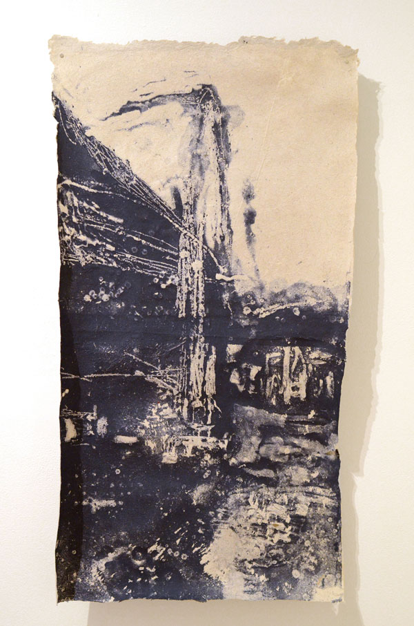 "Collier Point Study #2, 22"" x 42"", Handmade Paper Pulp Type with Japanese Knotweed, Recycled Paper Scrap"