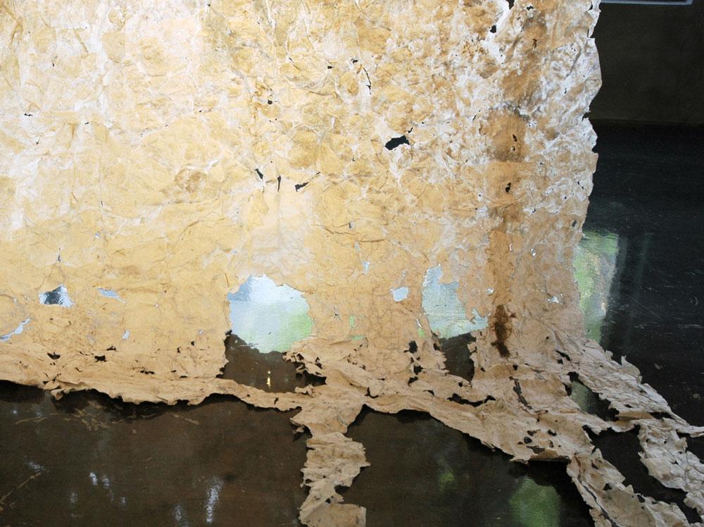 Detail.Plaquemine Pour, 2011, Linen Rag Papercast of Levee, 10' x 15'