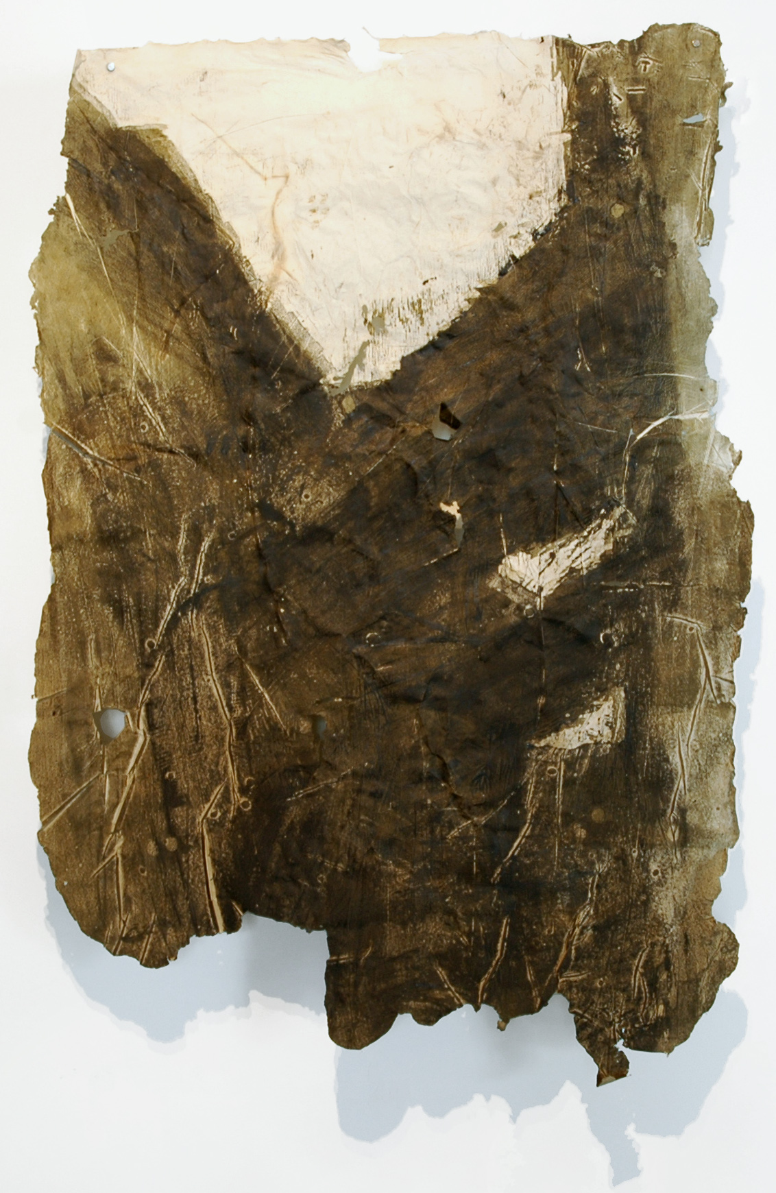 "Cinclaire Study 5, 2011, Handmade Paper, Charcoal Cast Woodcut, Charcoal, 46"" x 31"""