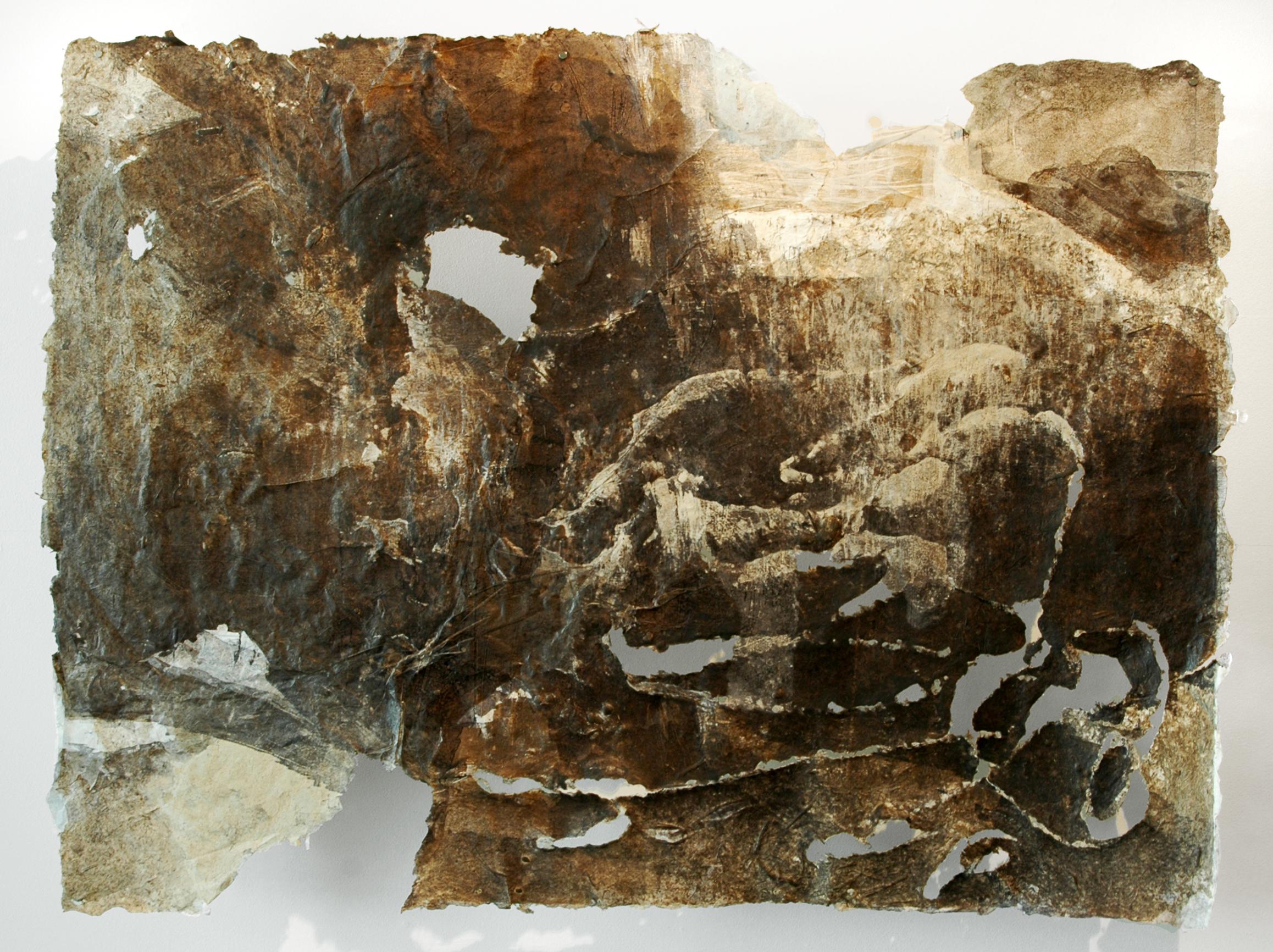"""Cinclaire Study 8, 2011, Cast Paper, Monotype, Woodcut, 36"""" x 42"""""""
