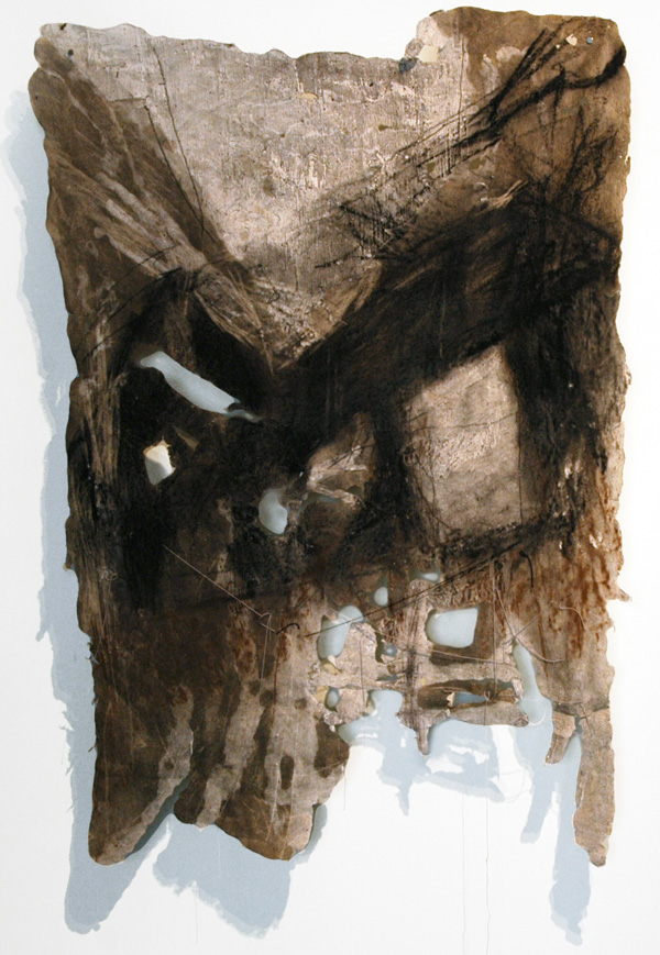 "Cinclaire Study 4, 2011, Handmade Paper, Charcoal Cast Woodcut, Charcoal, 46"" x 31"""