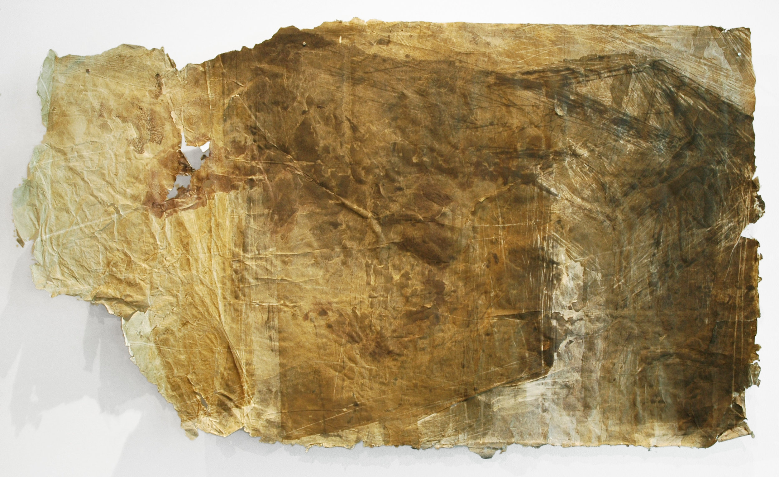 "Bayou Plaquemine Bridge 3, 2011, Woodcut, Handmade Paper, Monotype, 54"" x 36"""