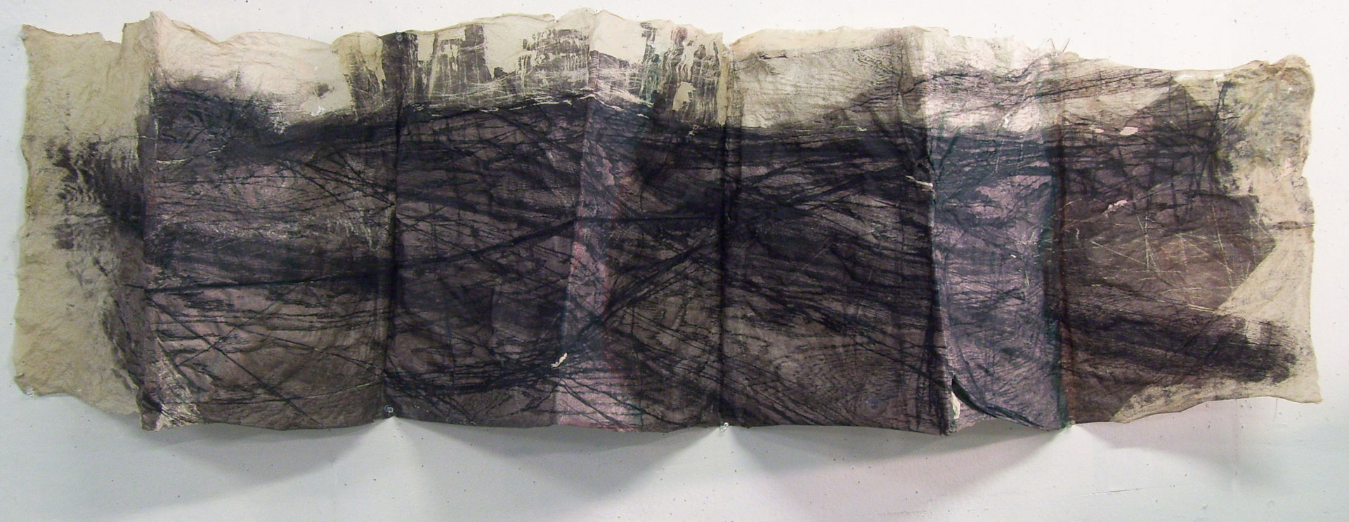 "Folded Landscape, 2010, Handmade Paper, Intaglio Wiped Woodcut, 56"" x 22"""