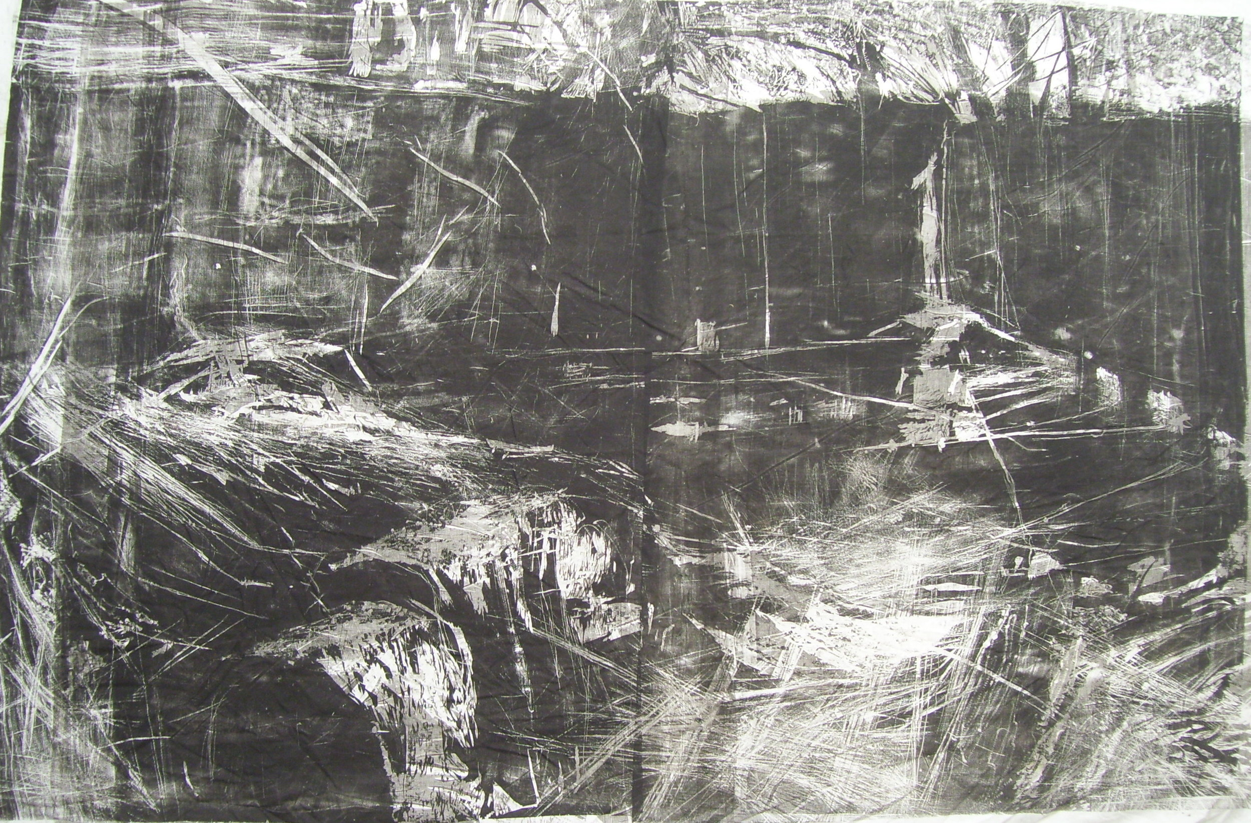 Between Fences, 2010, Woodcut on Cloth, 8' x 4'