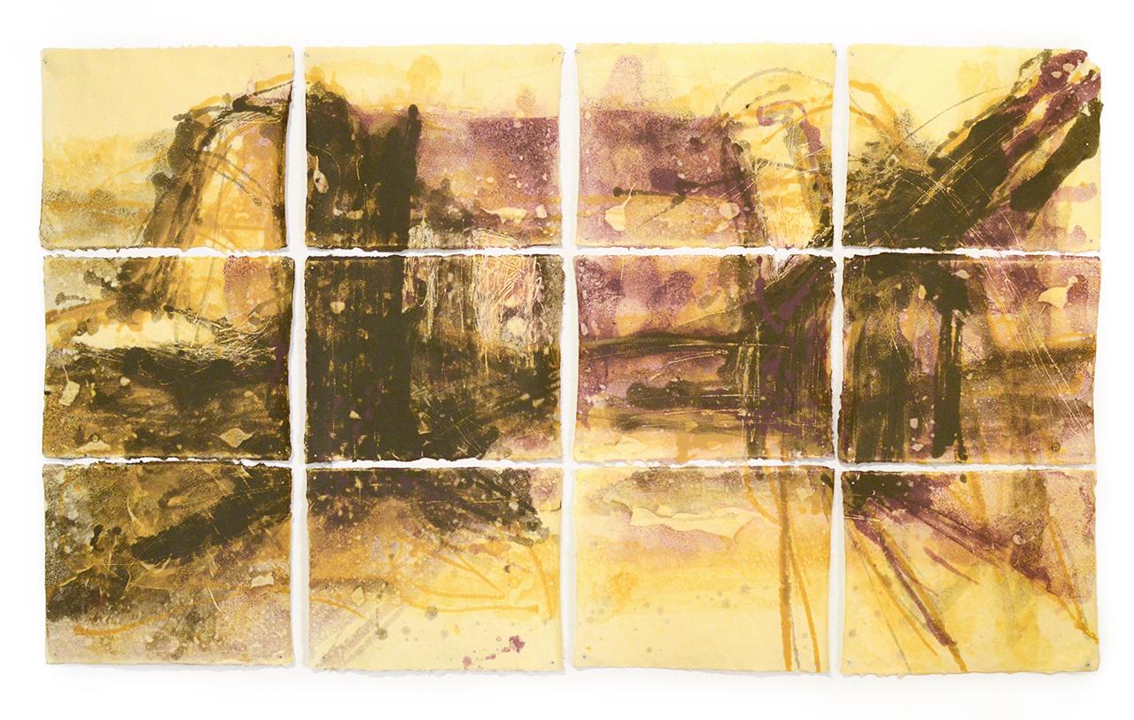 "Mission Espada, San Antonio, Texas, 2012, Paper Pulp Painting, 64"" x 36"""