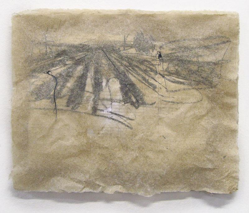 """Ream of Landscape, 2010, Handmade Paper, Silkscreen, String, 12"""" x 9"""""""
