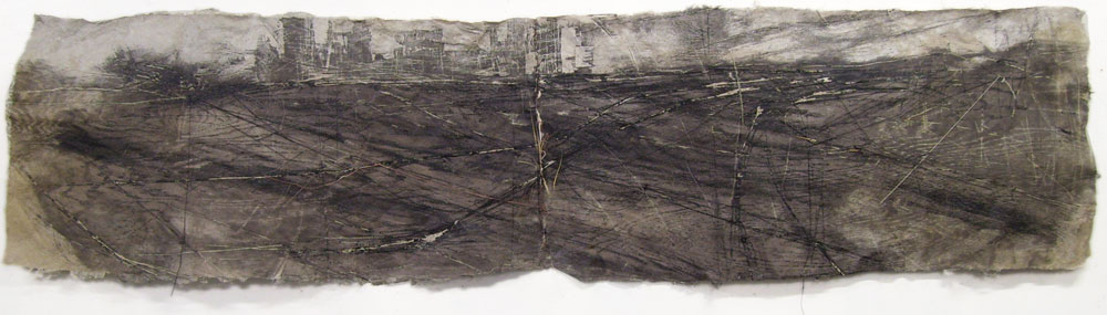 "Panorama, 2010, Handmade Paper, Intaglio Wiped Woodcut, 72"" x 22"""