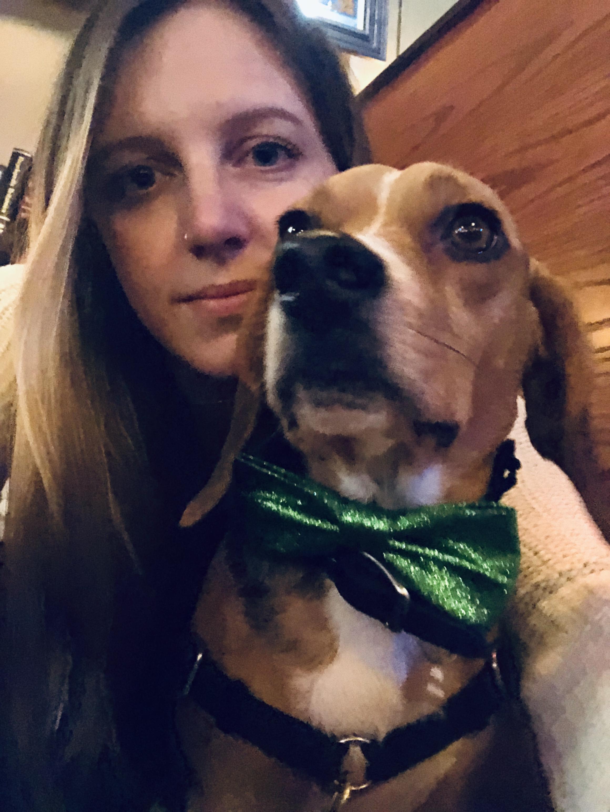 Her beagle, Copper