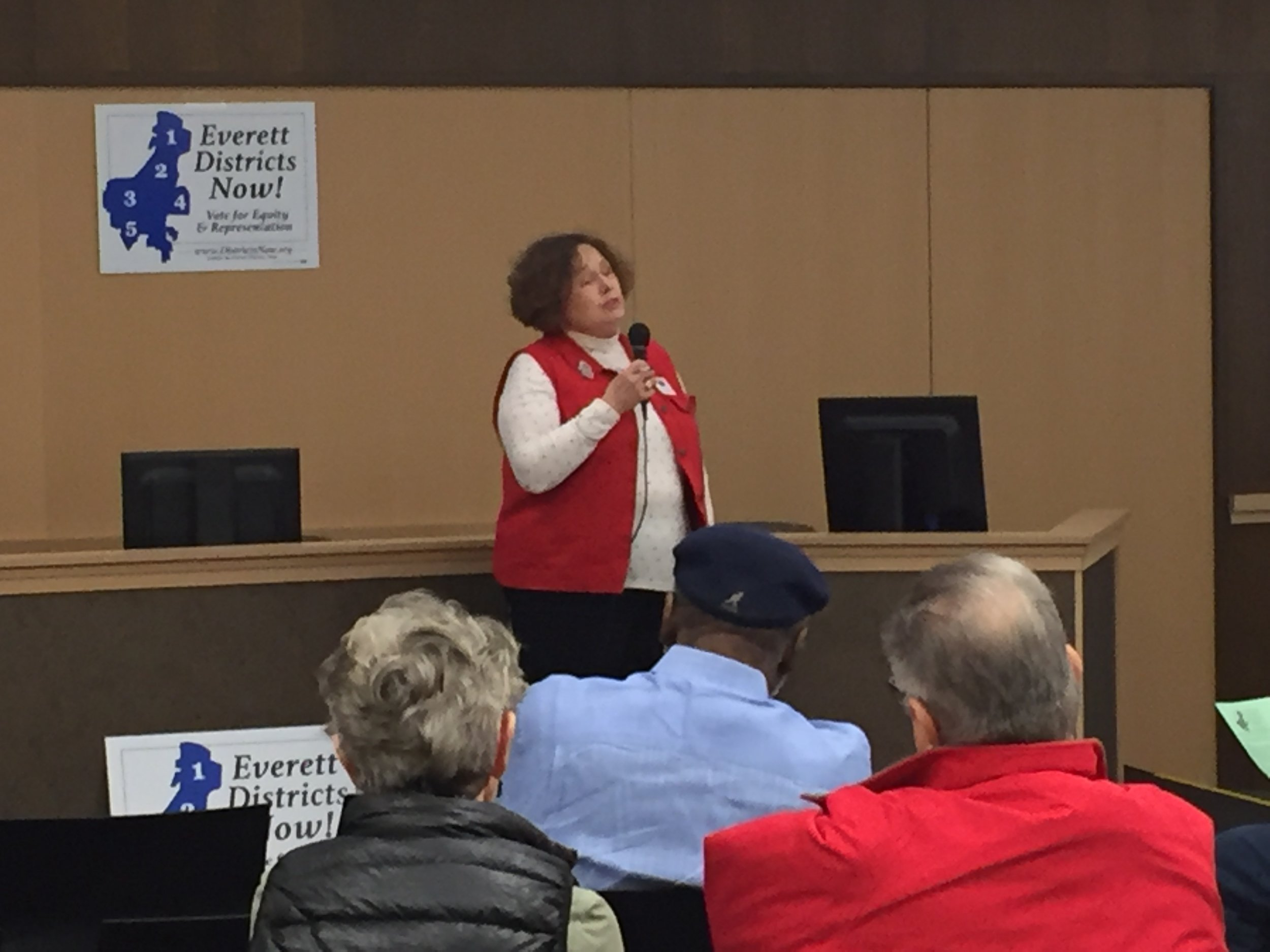 MJ Donavan-Creamer, sharing why the League of Women Voters is fighting for 5-2 districts!