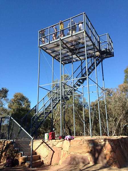 Photo: Students looking out from the lookout tower!