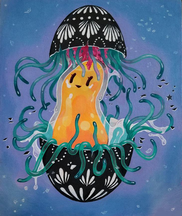 "Egg Jellyfish, 8x10"" acrylic on wood"