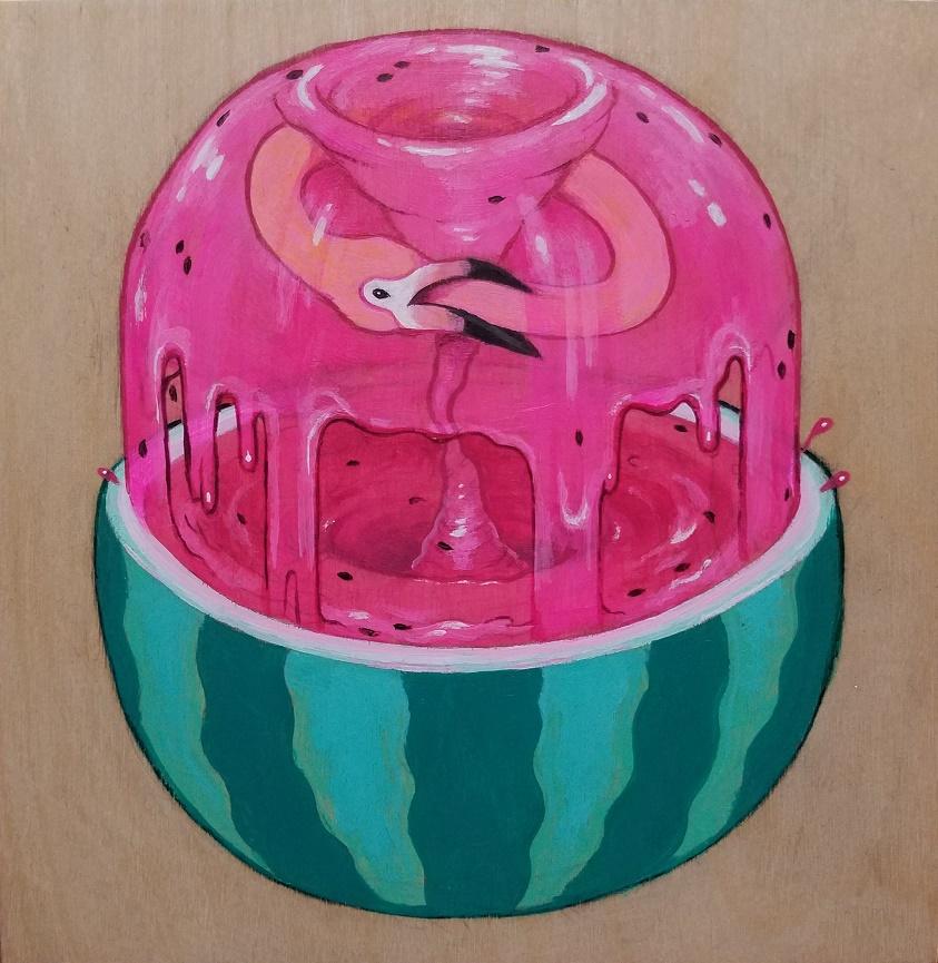 "The Watermelon Cycle, 6x6"" acrylic on wood"