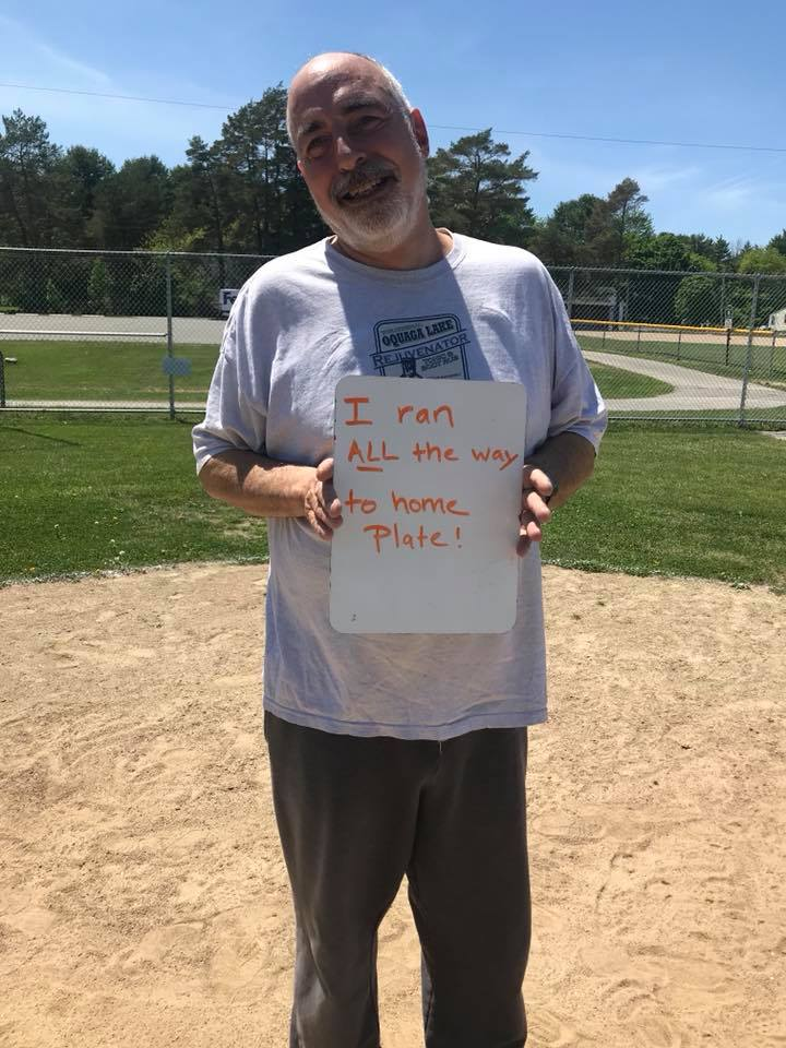 """NEIL R.10 years ago Neil got into a biking accident. He wasn't able to walk without a cane. He never thought he was going to be able to run again...Neil : """"....running is a funny exercise. It's really hard. People go outside and run everyday for miles, but for me just running these bases is a miracle."""" -"""