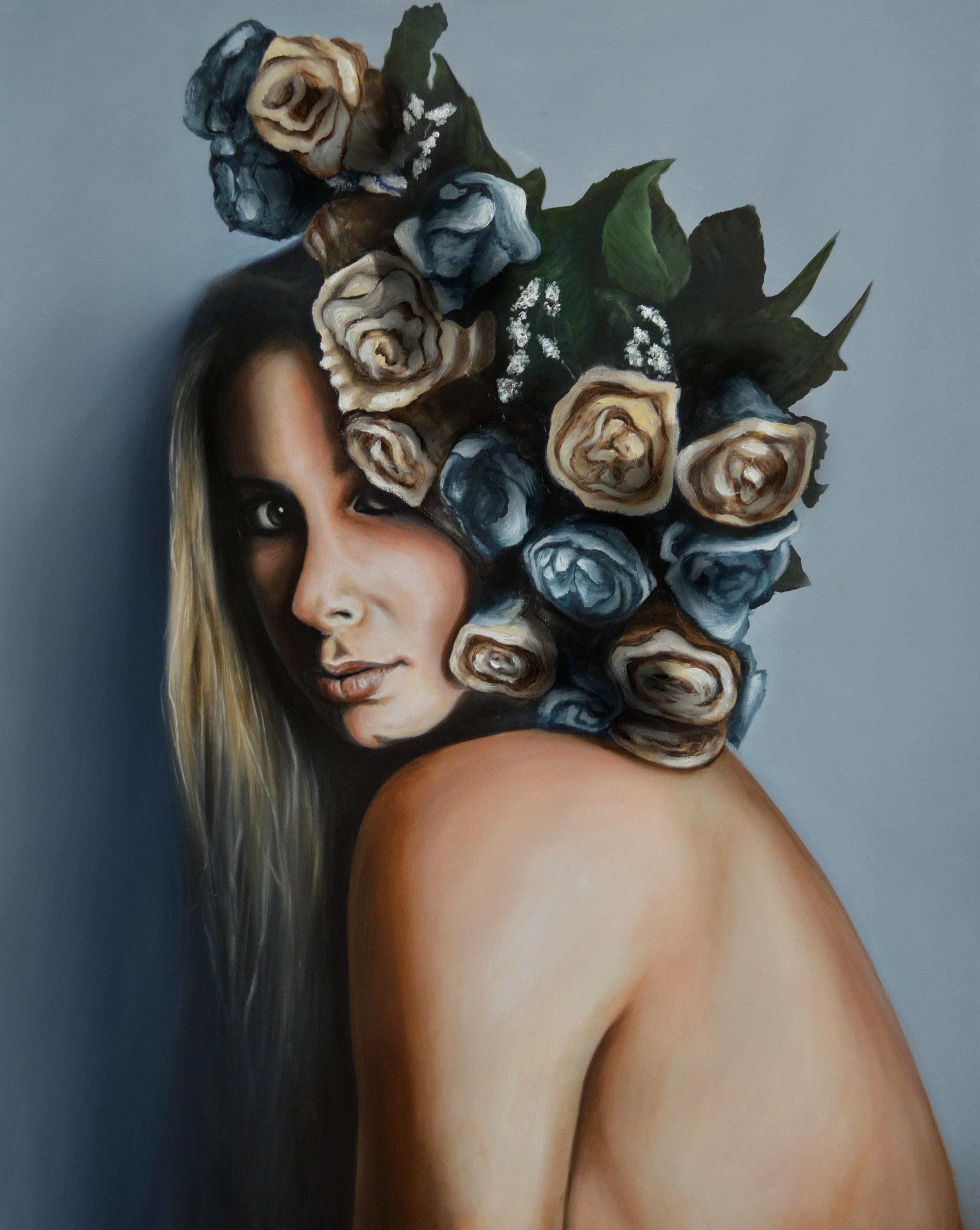 Self Portrait,  2016. Oil on panel, 24 x 30.