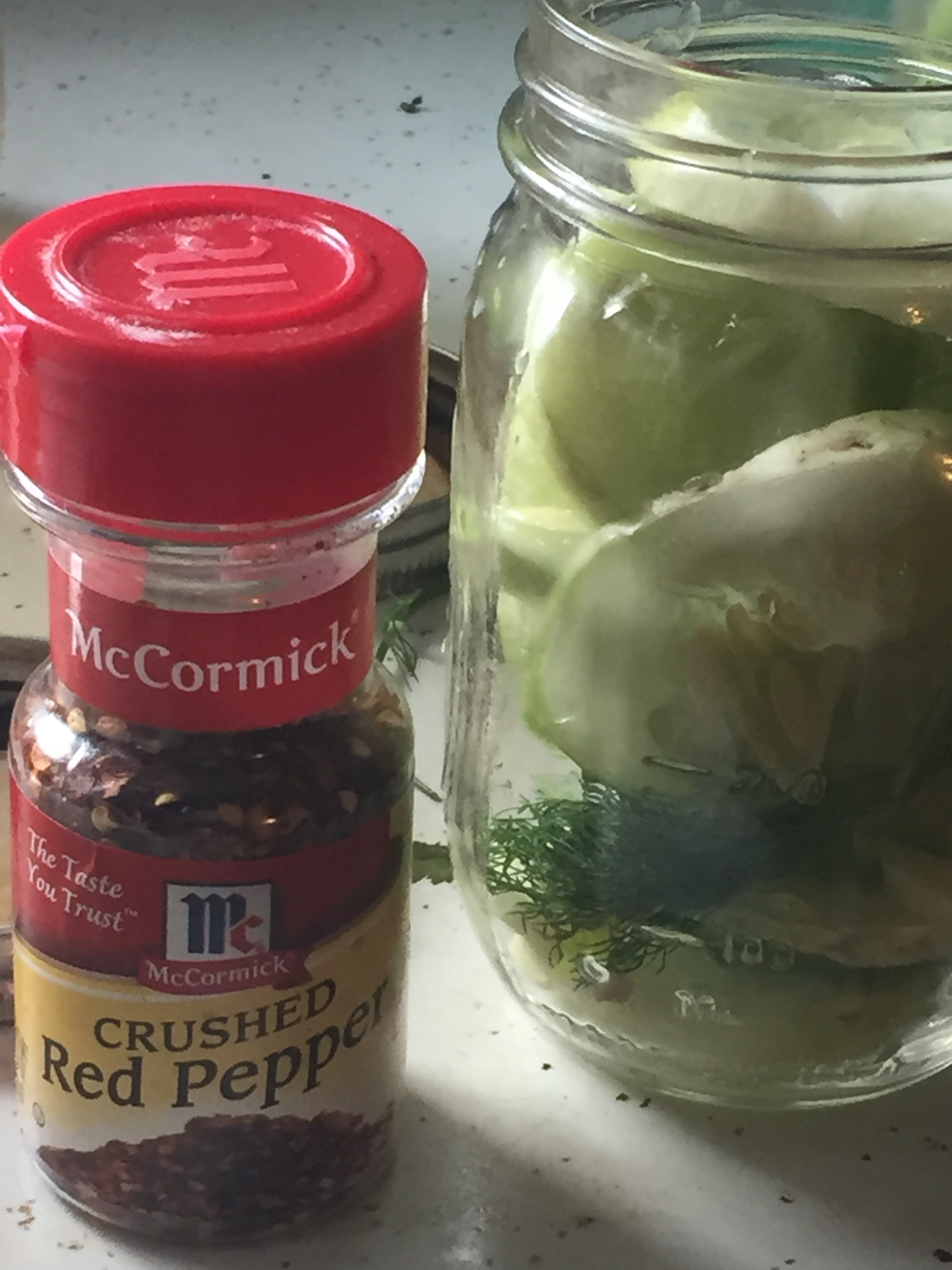 Prepare the pickles according to the recipe but add crushed red pepper flakes to the top of the jar after you have added the brine, put on the lid, and shake to distribute the heat throughout the jar. Refrigerate for three days...  I know *sigh* it is a bummer they need days to be done, because nobody is interested in putting off their time with their anticipated pickles. *wink* their lengthy, girthy (within reason) pickles...but apparently according to this recipe, it is worth the effort. I guess I have in life put in some effort for some very satisfying pickles.