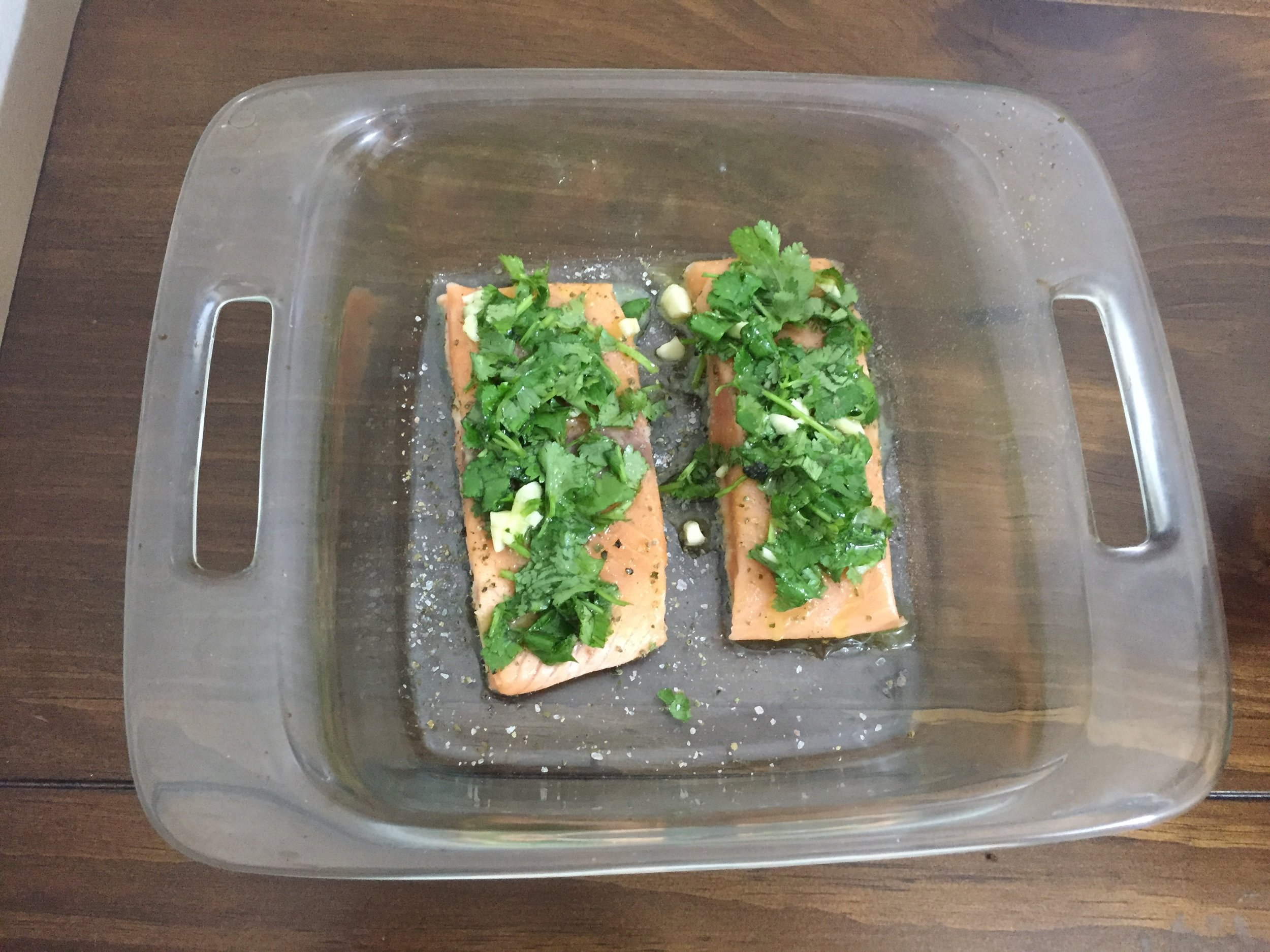 Place in the oven for 9-15 minutes to bake under high heat. *check at minutes 11-13 to determine oven strength.  Serve smiling and exciting about future Omega 3's!