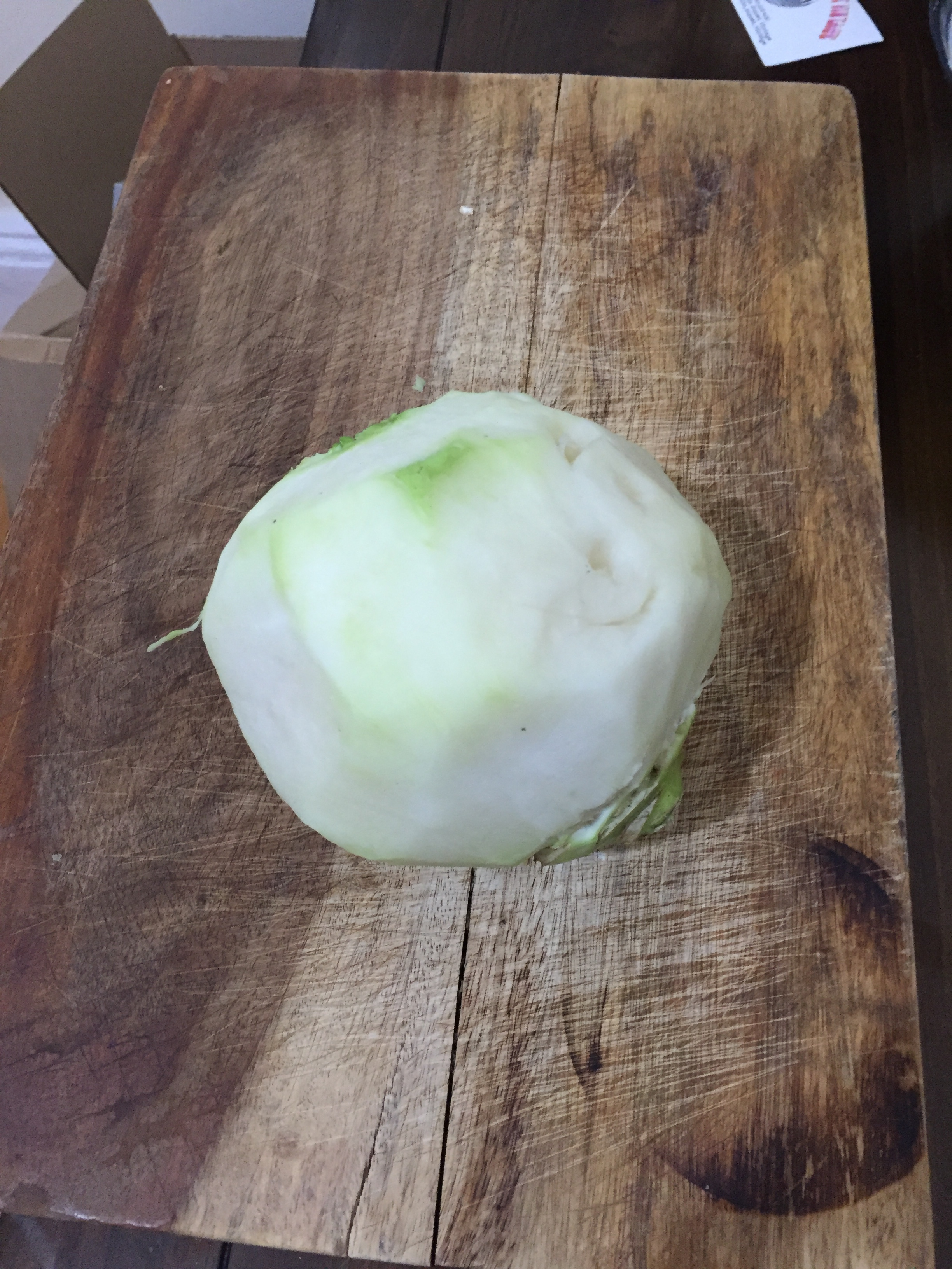 Cut the Kohlrabi into pieces. Put the pieces in a mixing bowl with olive oil. garlic, salt and pepper. Mix the pieces thoroughly and then place on a sheet tray and/or in a baking dish.
