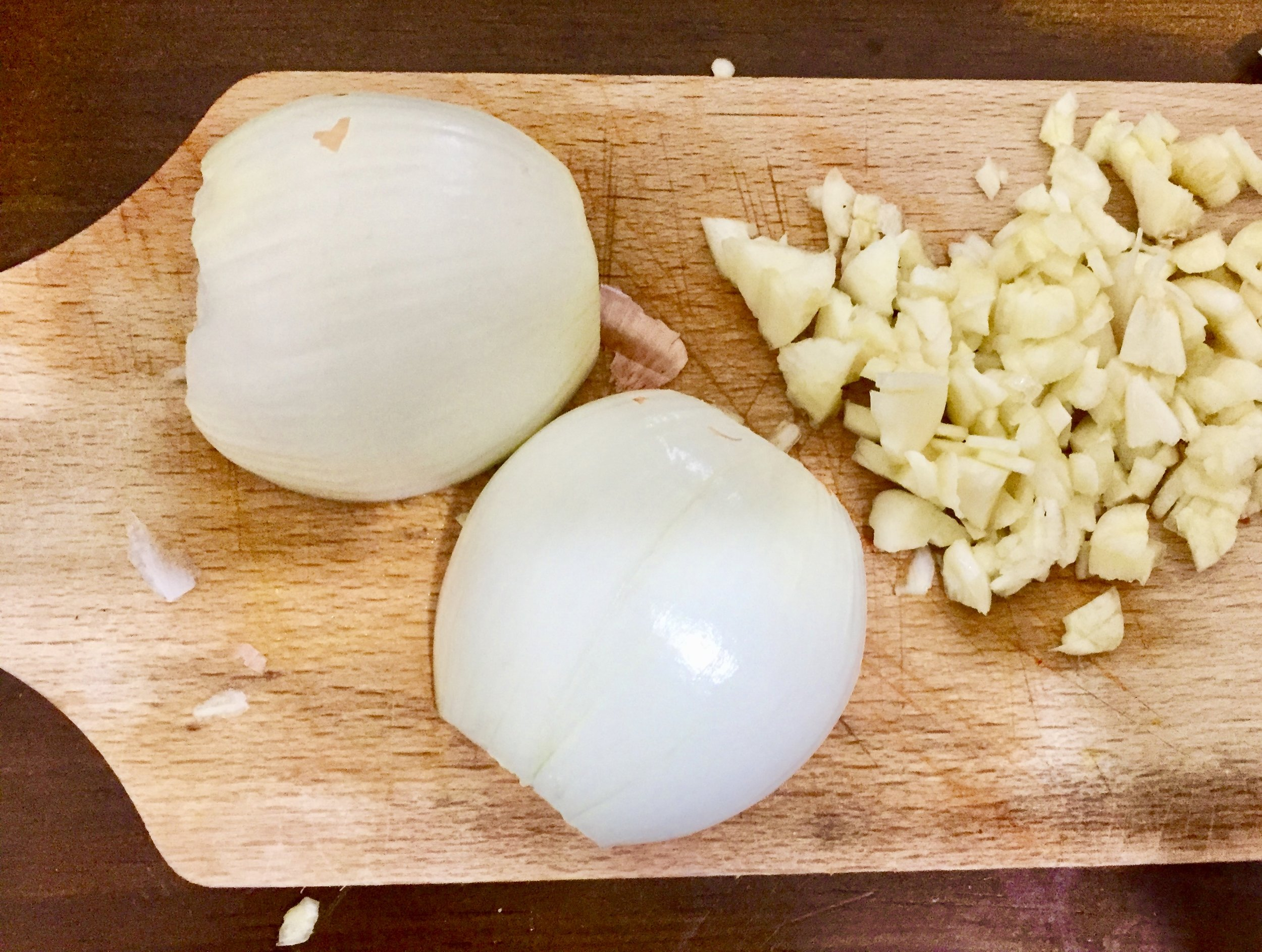 Dice the onion and garlic