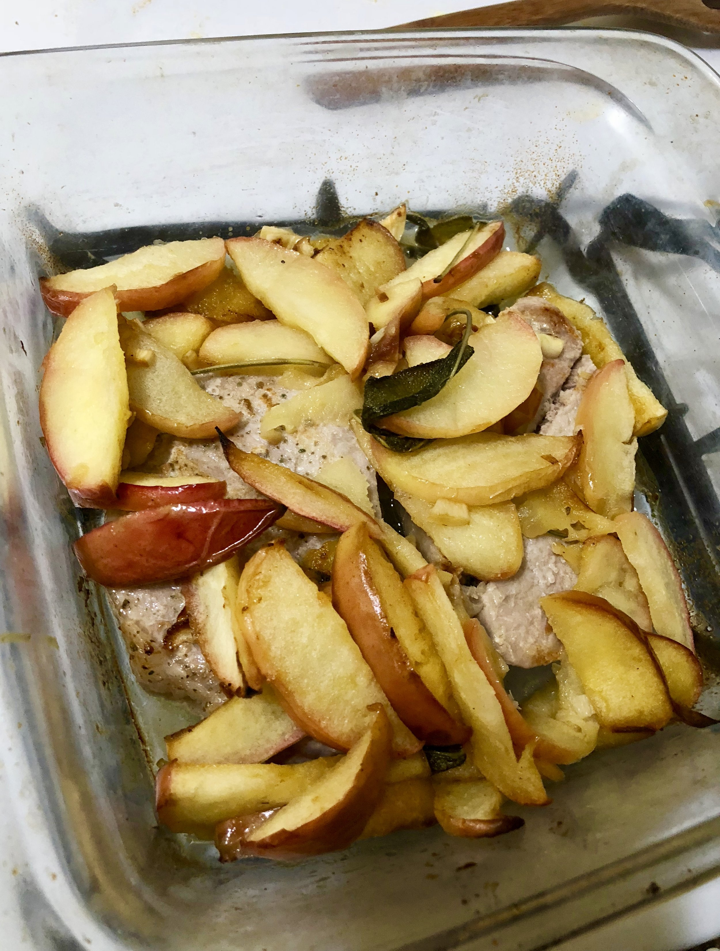 ingredients  2-3 medium Apples  pkg pf sage leaves  2 medium prod chops (trimmed- no bones)  0.25 cup of butter (you won't use the whole thing, but have on hand)  garlic (2-3 cloves)  salt   pepper