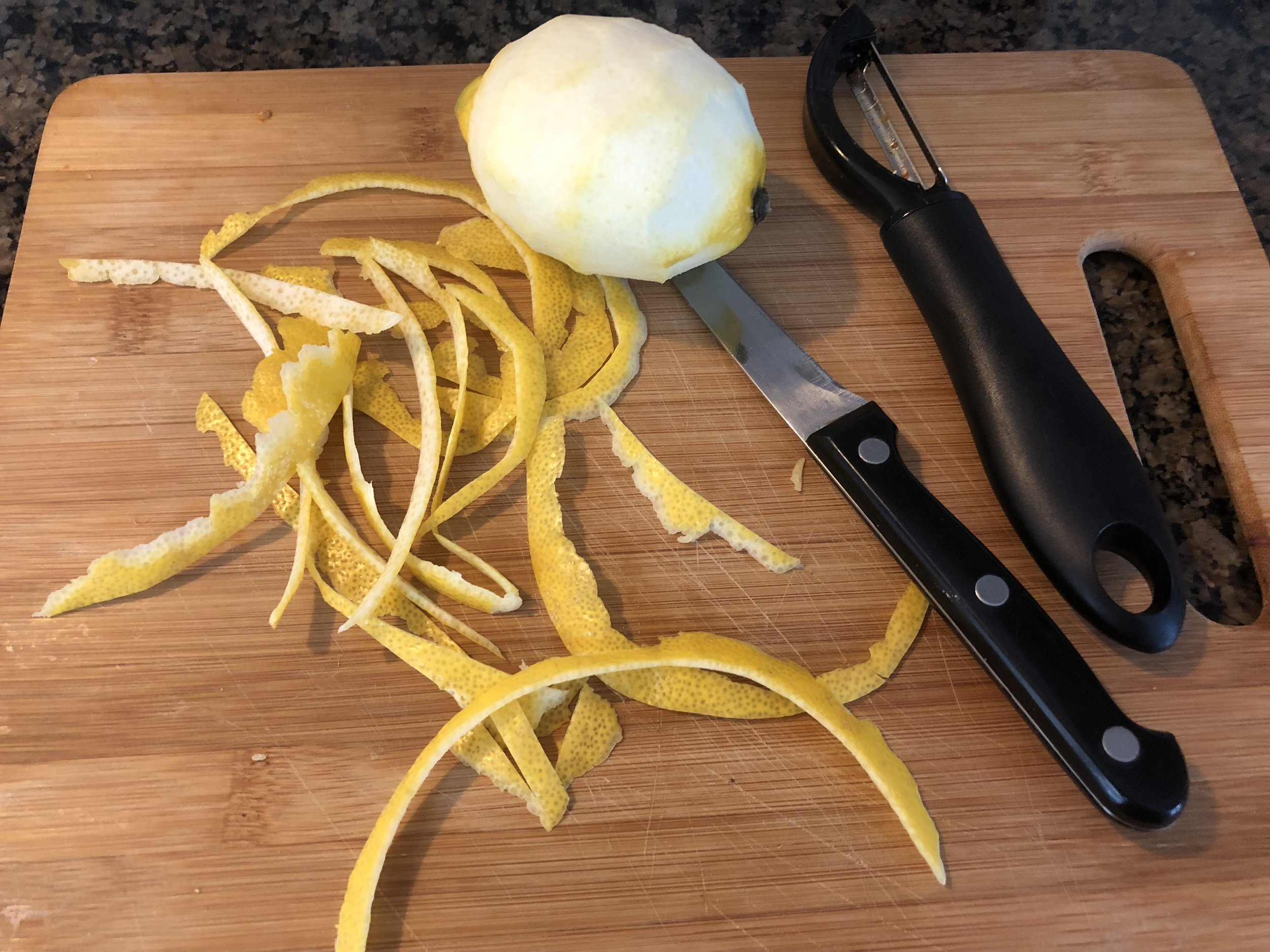 Using your vegetable peel, peel the lemon. *They sell specialty tools for peel peel for garnish, but I used my traditional vegetable peeler
