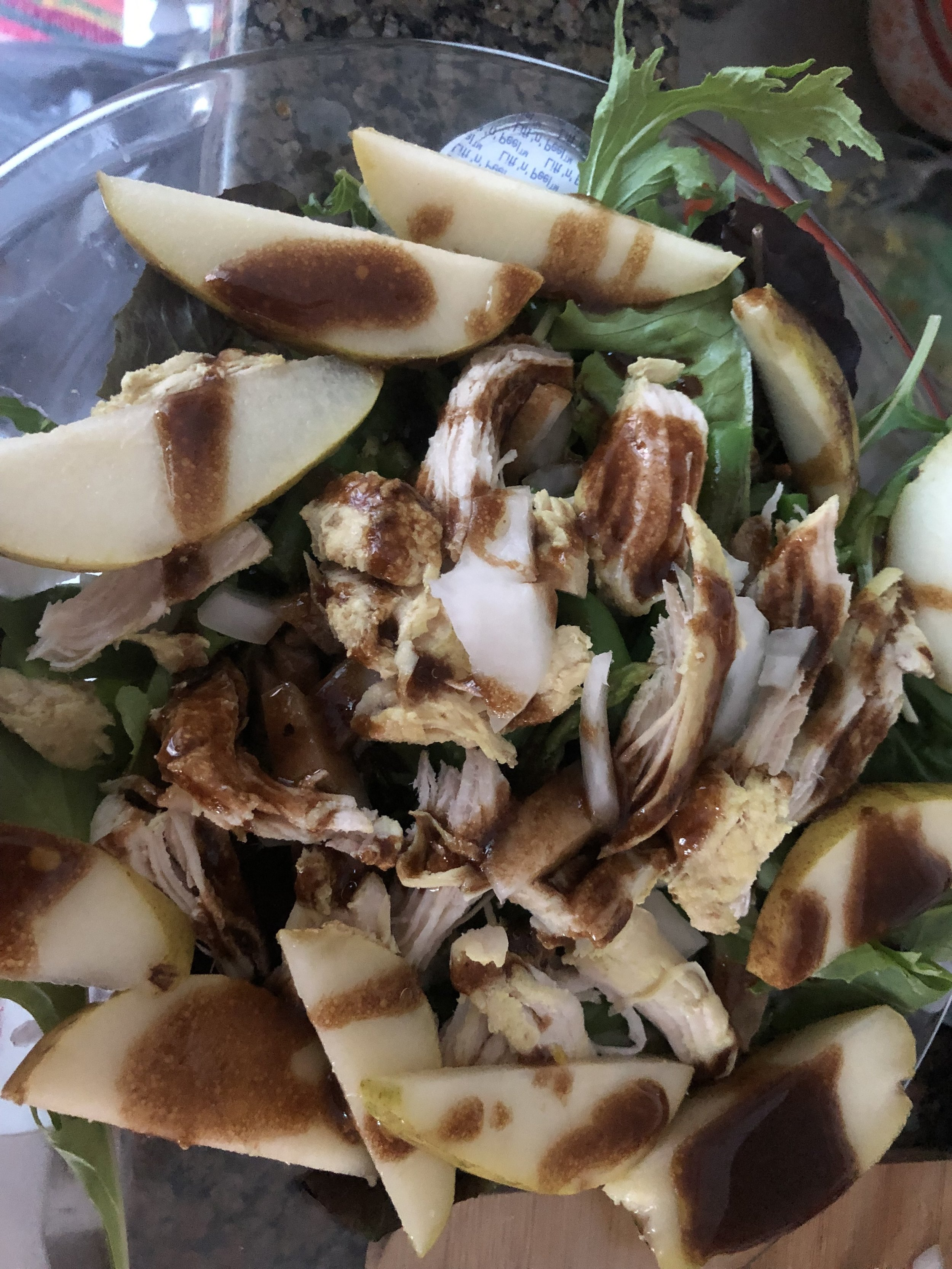 Ingredients  ripe pear  0.5 lb of asparagus  0.5 lb green beans  medium scallion  medium chicken breast  2 cups of spring greens    dressing  0.5 cup of balsamic vinegar  0.5 cup dijon mustard  0.25 cup of soy sauce  0.25- 0.5 cup of olive oil  ground pepper, to taste