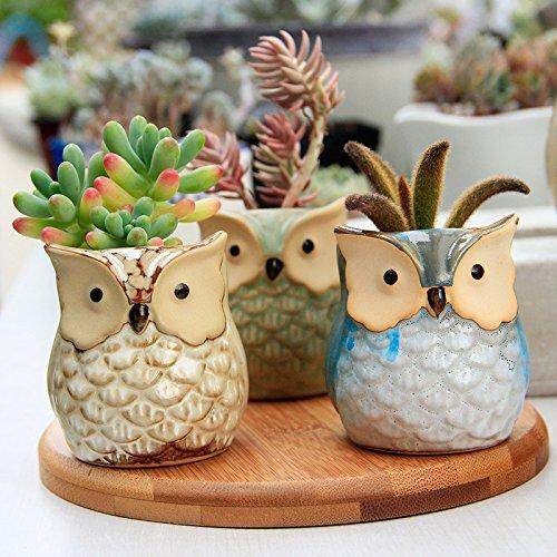 6 Pcs Mini Ceramic Owls