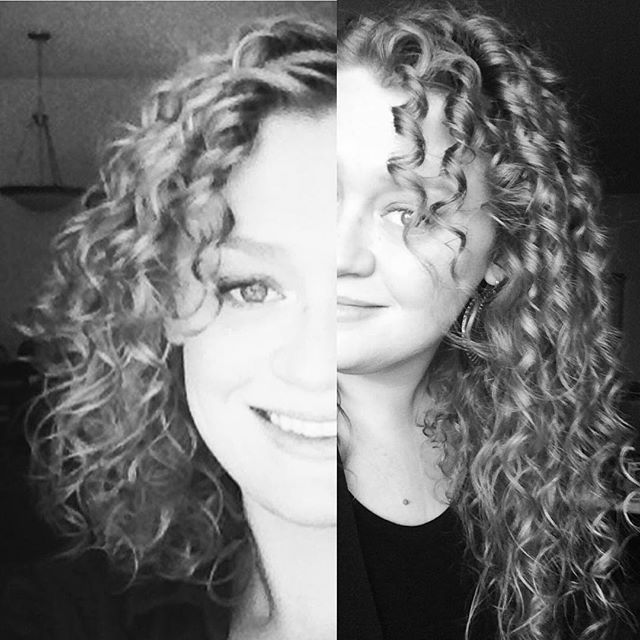 Five years and a few inches of curls grown...enough to need help getting a full pic of all my hair nowadays!! 2014 / Light red on the left and 2019 / natural color on the right...a little bit much in one shot! #curlyhair #curls #5 #beforeandafter #blueeyes #blonde #strawberry #longhair #denver #colorado #curljourney