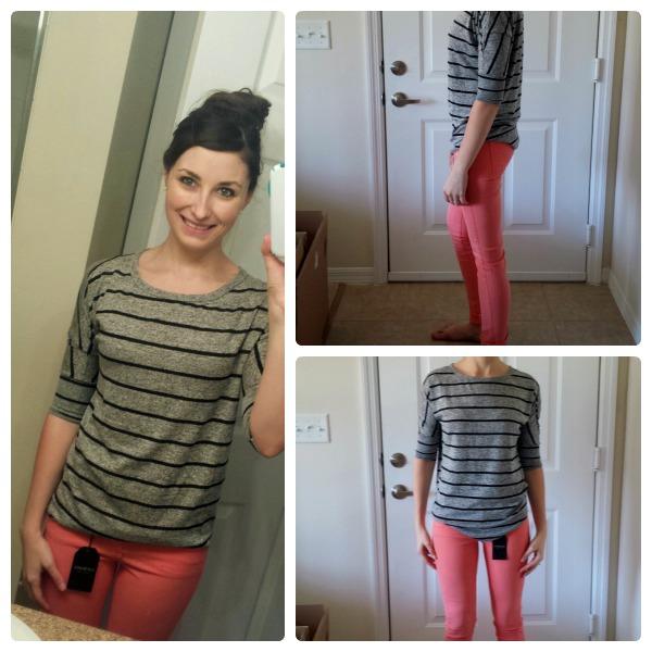 Stitch Fix Shirt and Pink Skinny Pants