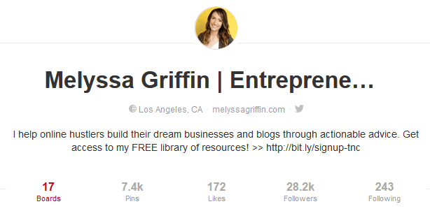 Example of a Good Pinterest Business Bio