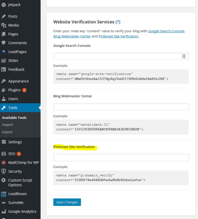 WordPress Pinterest Verification