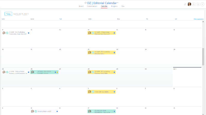 Using Asana as an editorial calendar