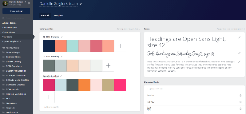 Canva for work brand templates