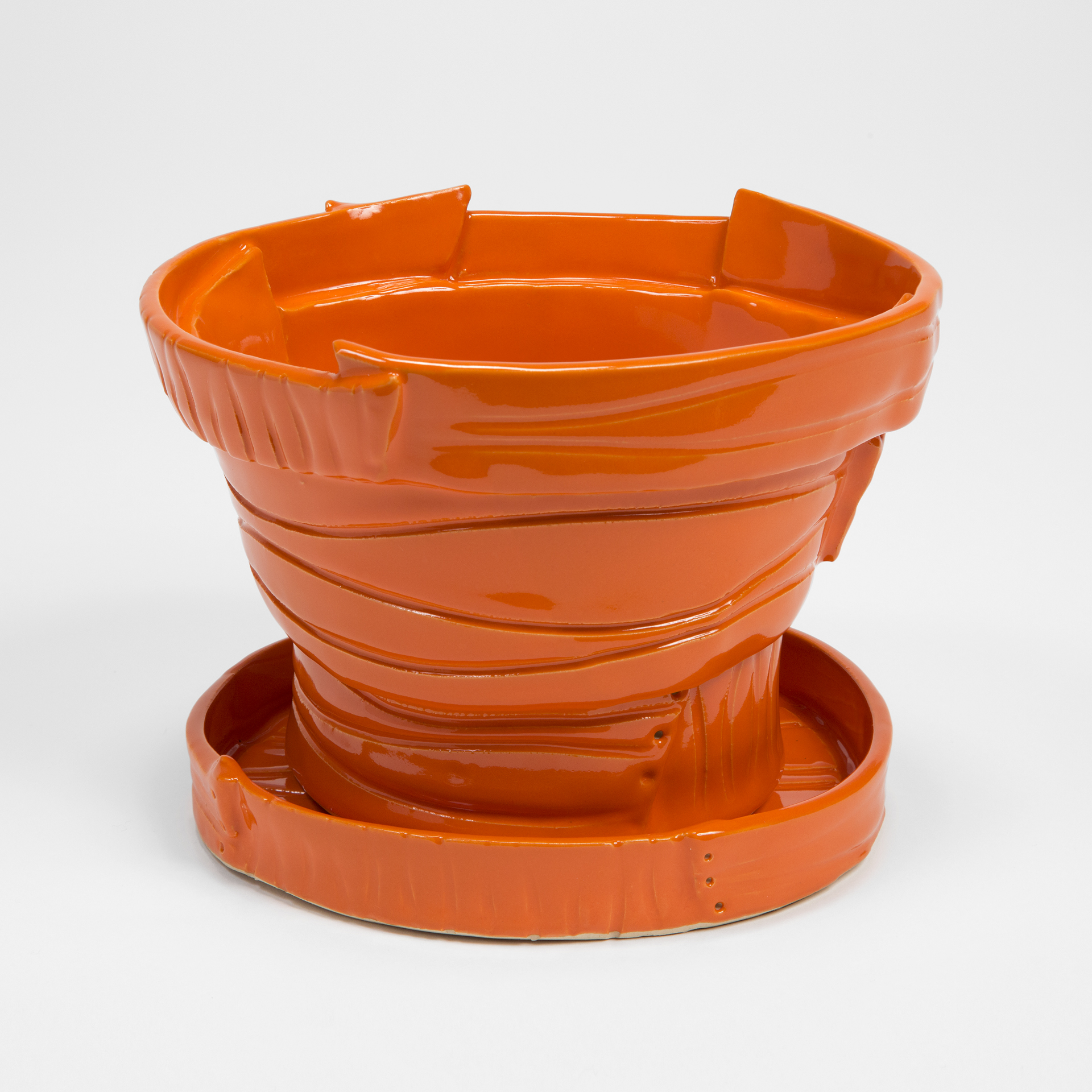 Orange Pot with Drainage Holes and Detached Tray